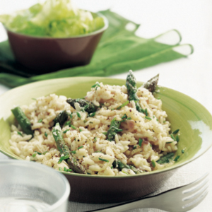 Asparagus risotto with truffle oil