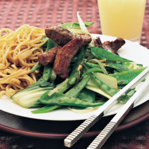 Stir-fry pork with Chinese greens