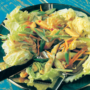 Vegetable salad with coconut dressing