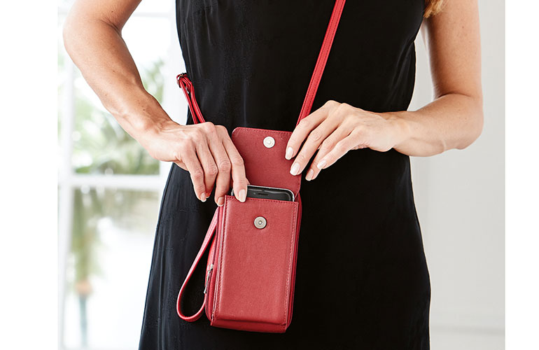Compact leather phone bag